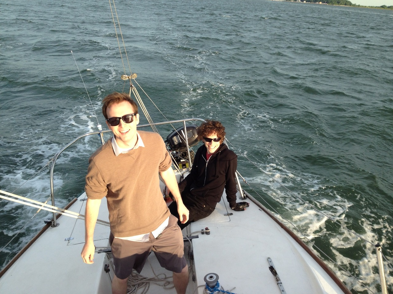 Eric Herot & Alex Johnson on a sailboat