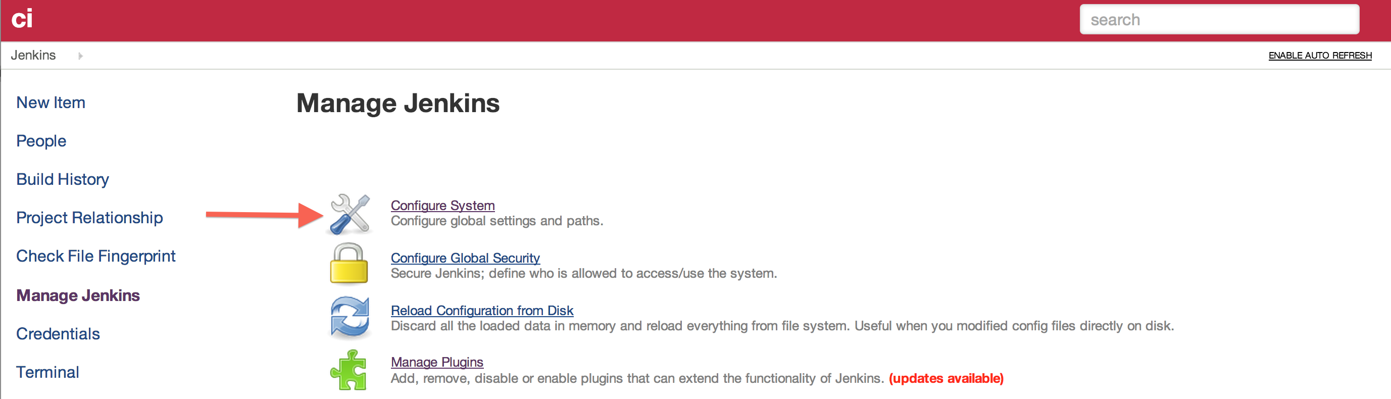 Jenkins configuration page